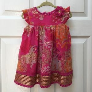 🆕Monsoon 6-12m pink and gold party dress NWT